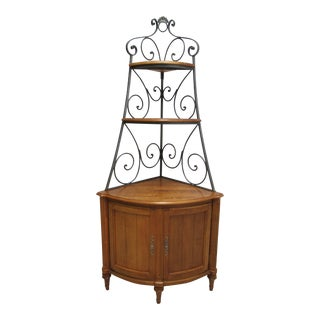 1990's Vintage Ethan Allen Legacy Country French Corner Display Cabinet For Sale