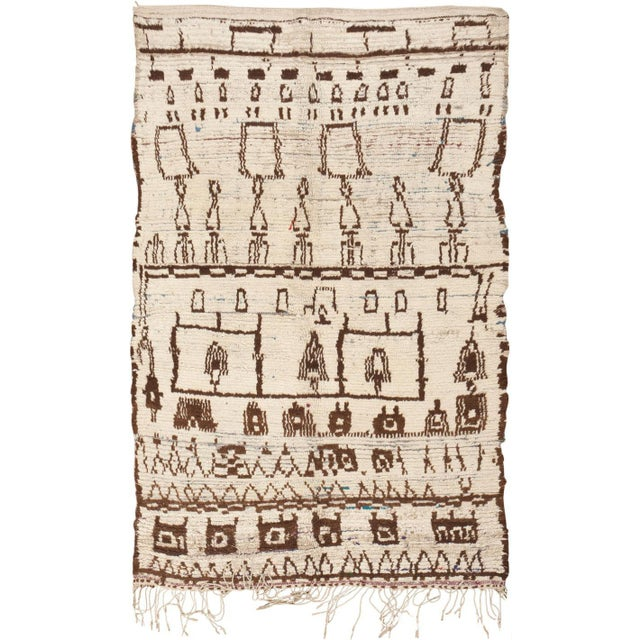 Boho Chic Vintage Moroccan Rug - 4′6″ × 7′1″ For Sale - Image 3 of 3