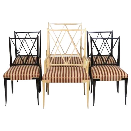 1950's Tommi Parzinger X-Back Chairs - Set of 6 For Sale