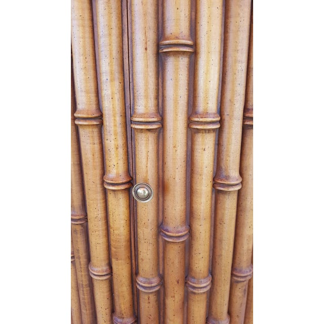 Faux Bamboo Marble Topped Cylindrical End Table - Image 6 of 6