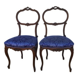 19th Century French Royal Blue Music Chairs - a Pair