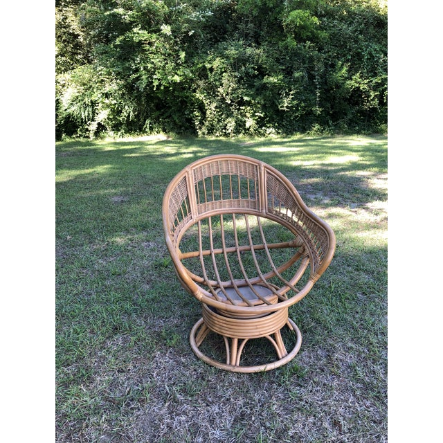 Astounding 1970S Vintage Rattan Swivel Egg Chair Andrewgaddart Wooden Chair Designs For Living Room Andrewgaddartcom