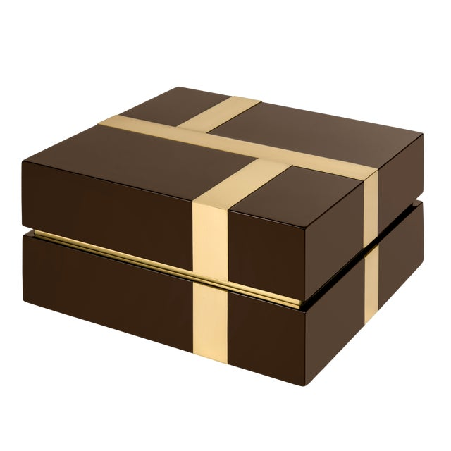 Not Yet Made - Made To Order Flair Home Collection Righe Box in Brown / Brass For Sale - Image 5 of 5
