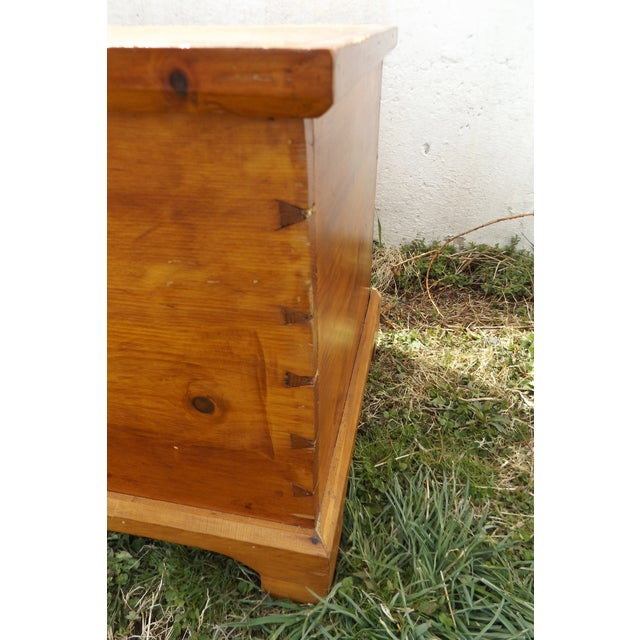 Primitive Antique Dovetailed Pine Hope Chest For Sale - Image 7 of 10