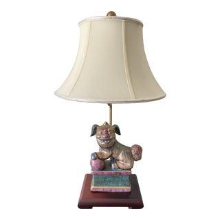 1970s Ceramic Foo Dog Table Lamp For Sale