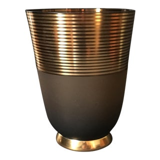 Art Deco Smoky Brown & Gold Glass Vase For Sale