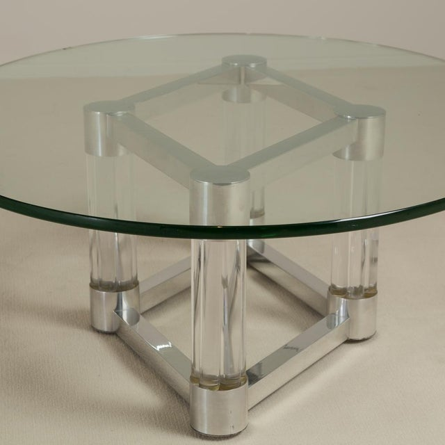 Mid-Century Modern Chunky Lucite and Aluminium Coffee Table 1970s For Sale - Image 3 of 6