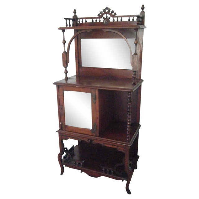Antique Victorian Mahogany Etagere Mirror Shelves For Sale