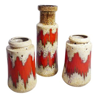 German Modernist Vases with Flow Glaze - Set of 3 For Sale