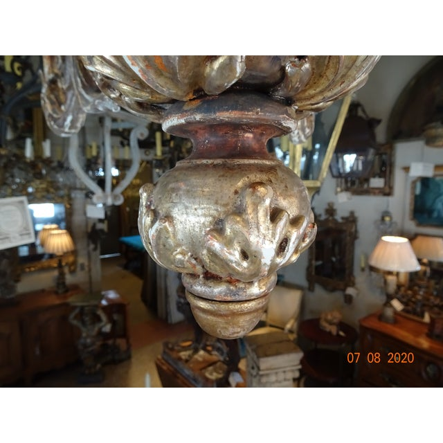Mid-Century Italian Carved Wood Chandelier For Sale - Image 9 of 13