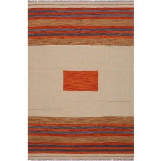 "Kilim Allene Tan Hand-Woven Wool Rug -5'8"" X 8'2"" For Sale"