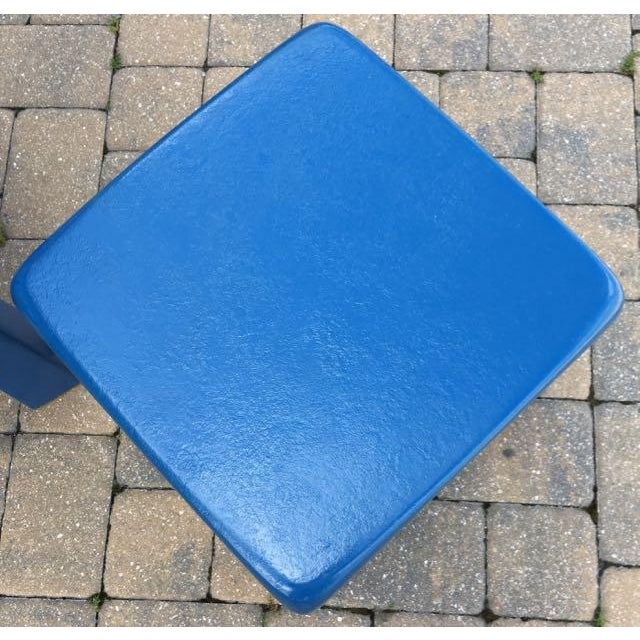 Blue Vintage Blue Fiberglass Occasional Tables - A Pair For Sale - Image 8 of 13
