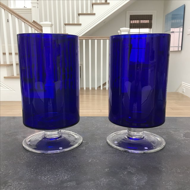 Cobalt Blue Glass Hurricanes - Image 2 of 6