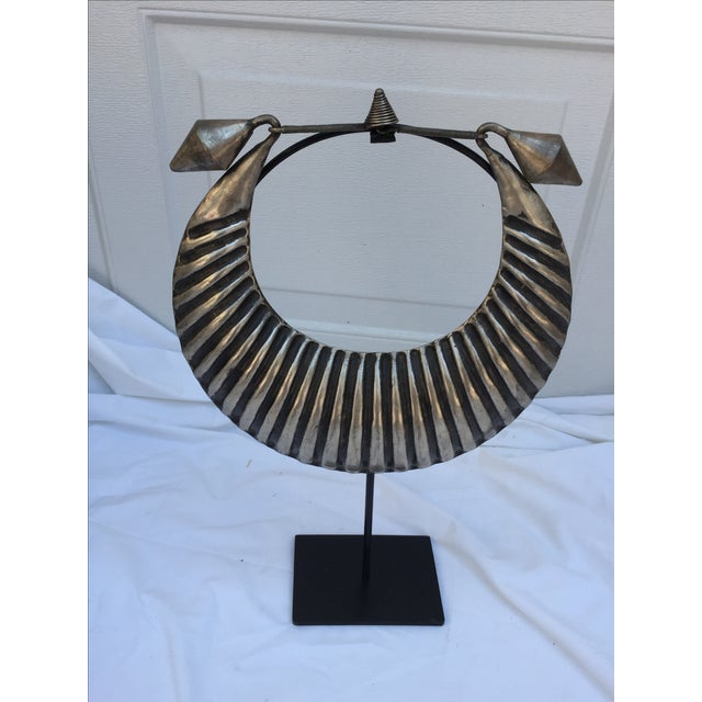 Vintage Tribal Silver Metal Necklace on Stand - Image 6 of 7