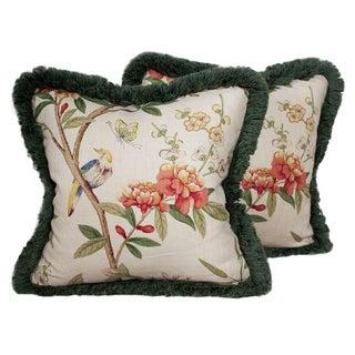 """Gp & J Baker Fringed Linen 18"""" Pillow Covers For Sale"""