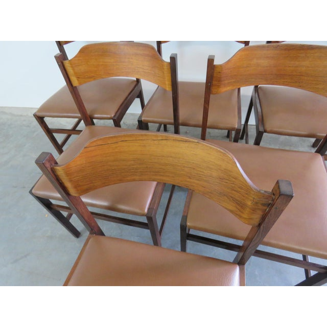 "Set of 6 Frattini rosewood dining side chairs with vinyl upholstery. 17"" seat height."
