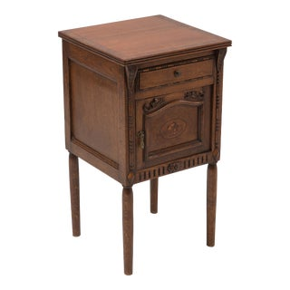 1920s Oak Inlaid Humidor Nightstand End Table For Sale