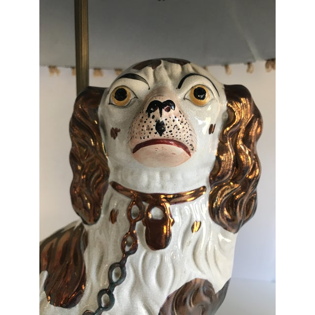 Antique English Staffordshire Spaniel Dog Lamps - A Pair - Image 3 of 9