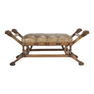A Walnut Banquette or Window Bench with Tufted Leather Seat For Sale