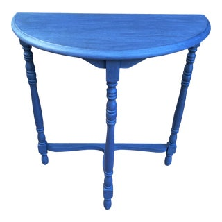 Transitional Blue Chalk Paint Demi Lune Side Table With Turned Legs For Sale