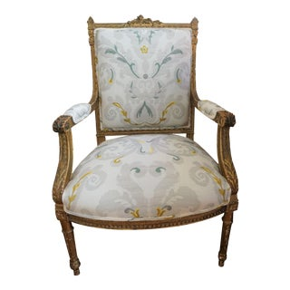 Louis XVI Style Gilt Wood Fauteuil For Sale