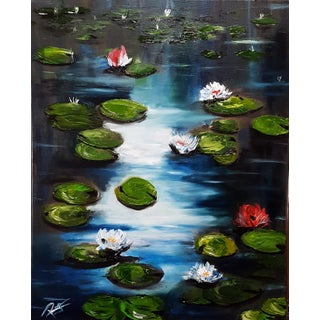 Midnight Water Lilies. Original 16x20 Oil Painting by Roger Gelis, Lilly Pond For Sale