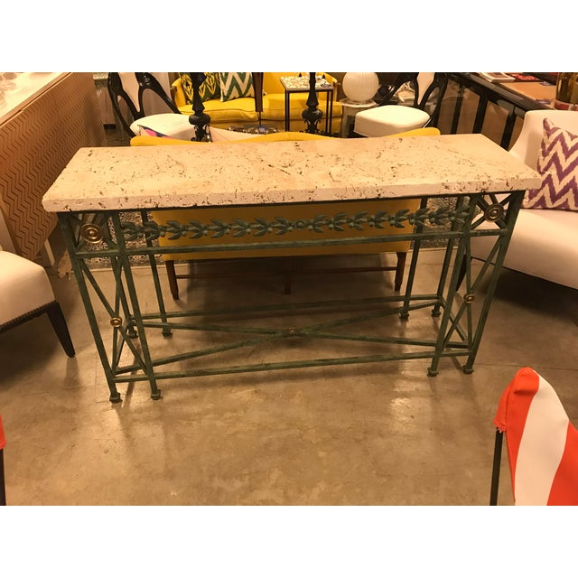 Gold Coral Stone Top, Verdigris Wrought Iron Console, W/ Brass Accents For Sale - Image 8 of 8