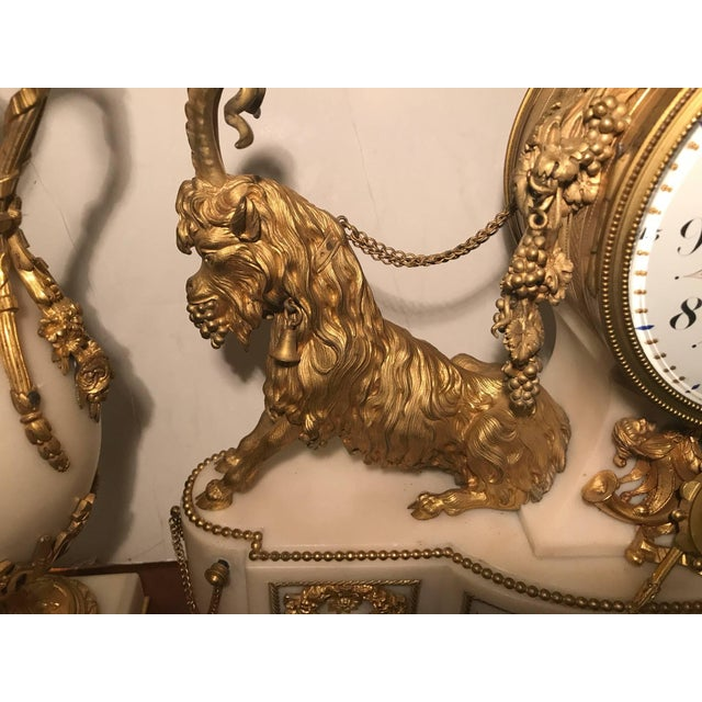 Elegant 18th Century French Ormolu Marble Clock and Garniture For Sale - Image 4 of 10