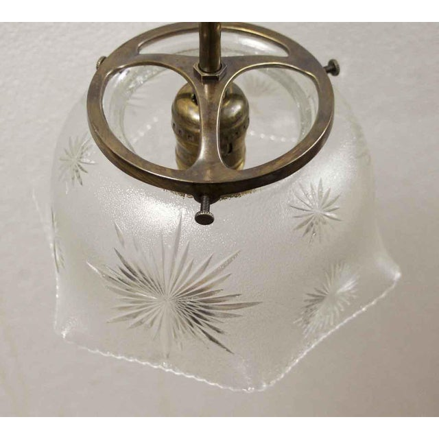 Traditional Antique Etched Glass Brass Pole Pendant Light For Sale - Image 3 of 7