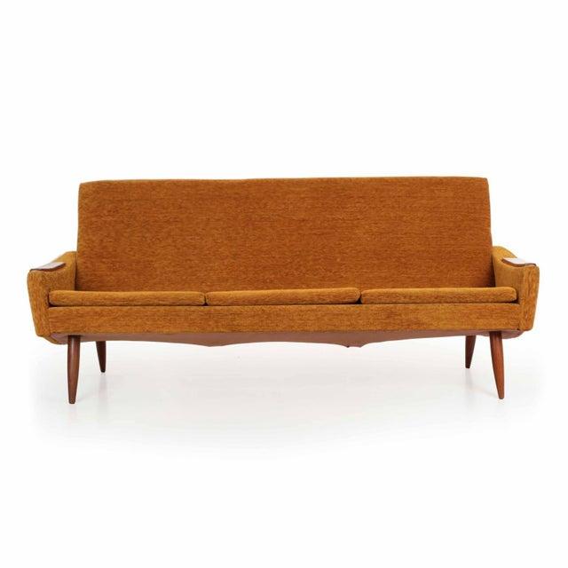 Scandinavian Mid Century Modern Orange Sculpted Walnut Sofa circa 1960s - Image 2 of 11