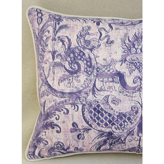 Lavender & White Italian Fortuny Mazzarino & Velvet Pillow - Image 3 of 9