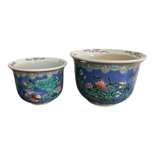 Chinese Famille Rose Hand Painted Ceramic Jardiniere Planters ~ Set of 2 For Sale