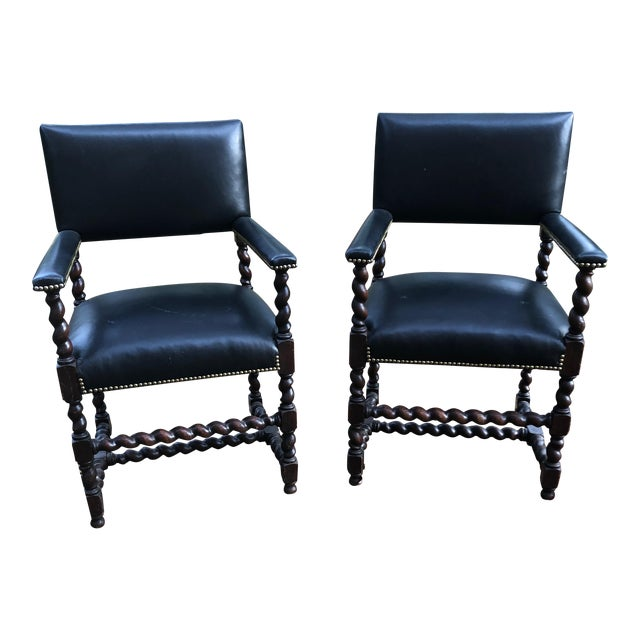 Mahogany Barley Twist Armchairs - a Pair For Sale