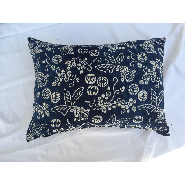 Art Deco Indigo Batik Koi Fish Pillow For Sale - Image 3 of 6