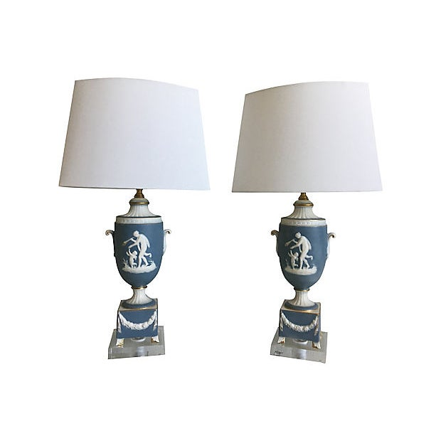 1950s 1950s Italian Jasperware Lamps & Shades - a Pair For Sale - Image 5 of 11