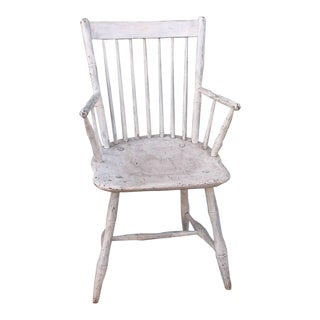 19th Century Original White Painted Windsor Armchair For Sale