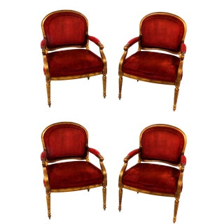1980s French Red Velvet Bergere Dining Chairs - Set of 4