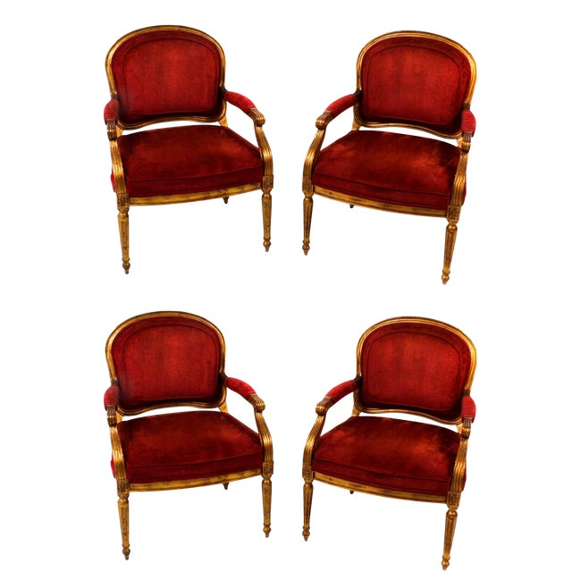 Hollywood Regency Red Velvet Bergere Armchairs Dining Chairs - Set of 4 For Sale