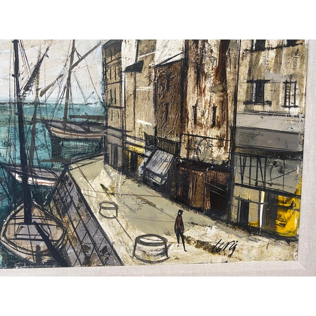 Mid-Century Modern Charles Levier Painting of French Port Scene With Boats For Sale In West Palm - Image 6 of 12