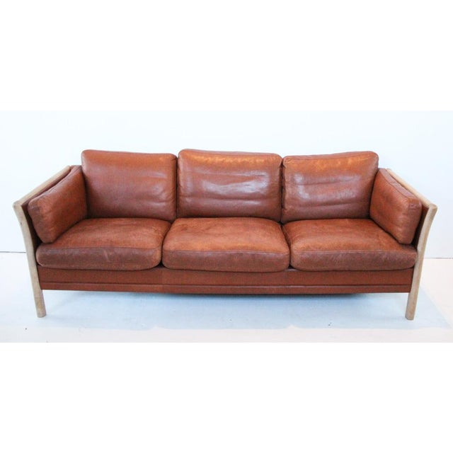 Animal Skin Mid-Century Leather Couch For Sale - Image 7 of 7