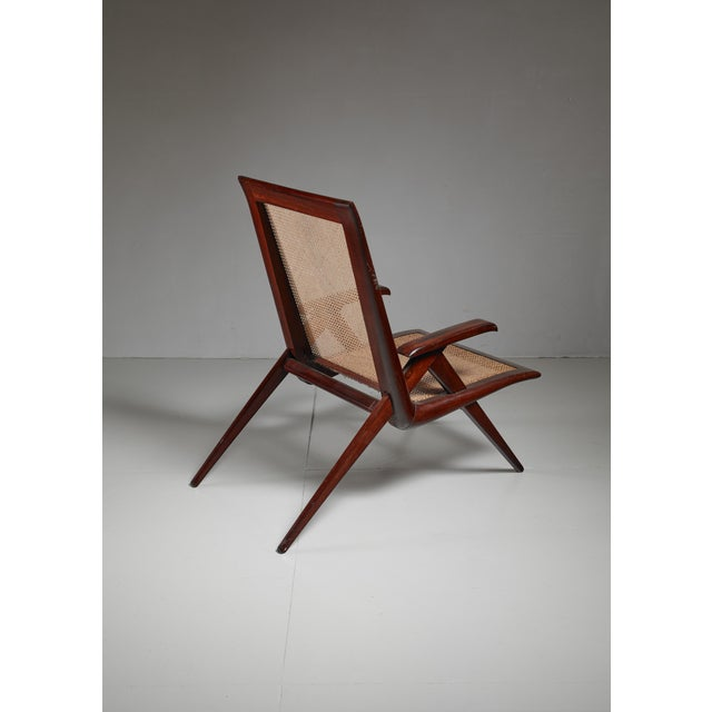 Brazilian walnut armchair with woven cane seating For Sale - Image 4 of 6