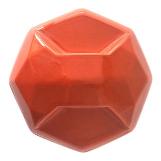 Vintage Orange Geometric Ceramic Container Catchall For Sale