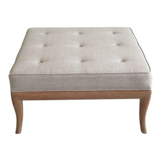 1950s Vintage T.H. Robsjohn-Gibbings Style Cerused Finish Ottoman For Sale