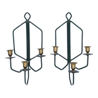 20th Century Geometric Green Metal and Brass Candle Wall Sconces - a Pair For Sale