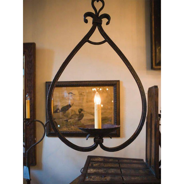 """Custom """"Mahoning"""" Hand-Forged, Large Wrought-Iron Pendant For Sale - Image 6 of 11"""