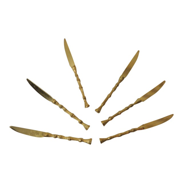 Set of Six Faux Bamboo Gold Plated Vintage Spreading Knives For Sale