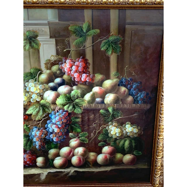 Neoclassical European Still Life of Grapes on a Ledge, Unsigned For Sale - Image 3 of 11
