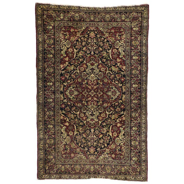 Antique Persian Kerman Rug with Traditional Style, Antique Kirman Persian Rug For Sale - Image 5 of 5