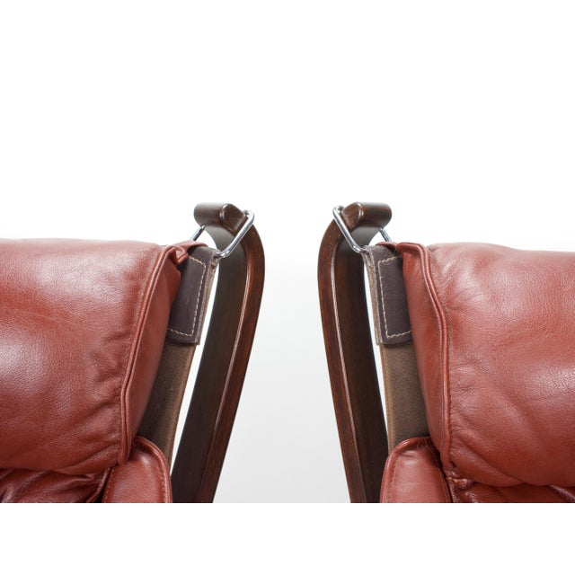 Canvas 1970s Sigurd Resell for Vatne Møbler Falcon Lounge Chairs- A Pair For Sale - Image 7 of 13