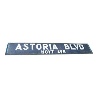 New York Subway Porcelain Train Station 2-Sided Sign, Astoria Blvd Queens For Sale